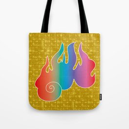 Flame of God's Wrath on Gold-leaf Screen Tote Bag