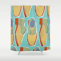 shoes Shower Curtains featuring shoes by laura mendoza v.