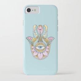 Hamsa On Turquoise iPhone Case