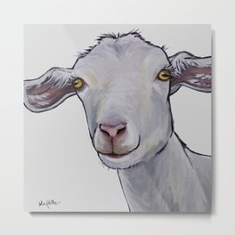 Cute Goat Art, Goat art in neutrals Metal Print