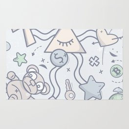 Cartoon Doodle All seeing eye. Background. Rug