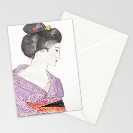 Woman in purple kimono Stationery Cards