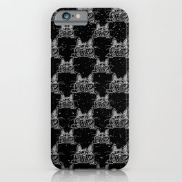 Crazy Kitten in Winter Snow on Black - Animals - Mix and Match with Simplicity of Life iPhone Case