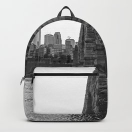 Stone Arch Bridge and Minneapolis Skyline Black and White Backpack