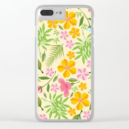 Abstract sunshine yellow pink tropical floral Clear iPhone Case