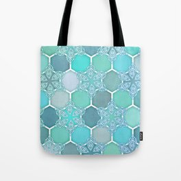 Frozen Mint Honeycomb - Doodle Hexagon Pattern Tote Bag
