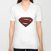 man of steel V-neck T-shirts featuring Superman - Man of Steel by ochre7