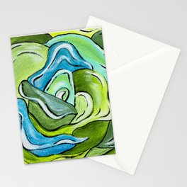 Floral in Green & Blue Stationery Cards