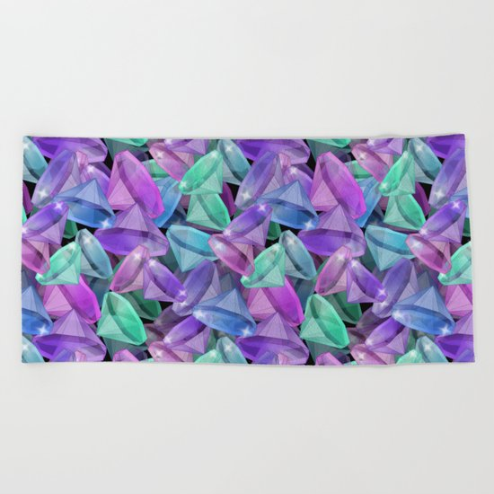 Placer precious stones Black background . Diamonds . Beach Towel
