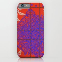 Blue=White Ink on Bright Red iPhone Case