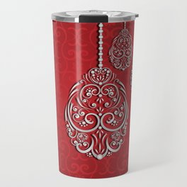 Silver lace hanging eggs on vibrant red background Travel Mug