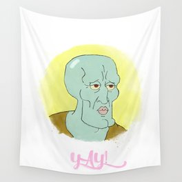 Handsome squidward Wall Tapestry