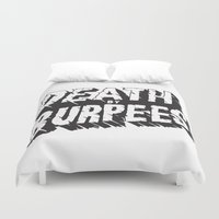 crossfit Duvet Covers featuring Death by Burpees by Nikkers