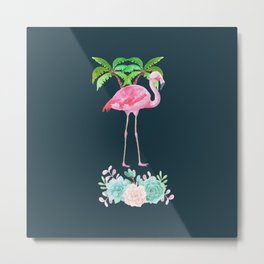 Pink Flamingo & Green Palm Tree Metal Print