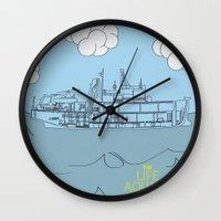 zissou Wall Clocks featuring Zissou Boat by Jarom Ward