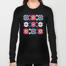 Kilim Abundance Pattern  - Blush & Teal Palette Long Sleeve T-shirt