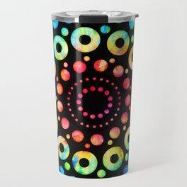 Multi-Color Mandala Tie-Dye Circle Shapes Travel Mug