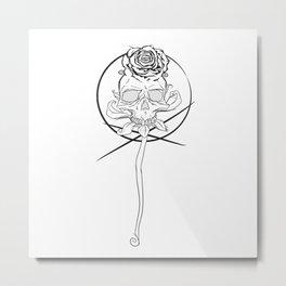 Skull rose black Metal Print