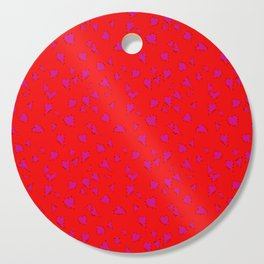 Scattered Hand-Drawn Bright Hot Pink Painted Hearts Pattern on Bright Red Cutting Board