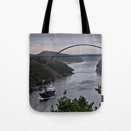 Ship sailing Ringdalfjord between Norway and Sweden II Tote Bag