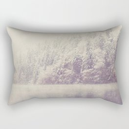 the beauty of a mountain lake on a snowy winters day Rectangular Pillow