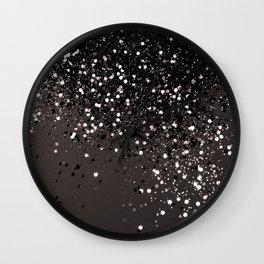 Blush Gray Black Lady Glitter #2 #shiny #decor #art #society6 Wall Clock