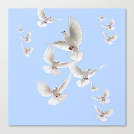 WHITE PEACE DOVES IN SKY BLUE COLOR Canvas Print