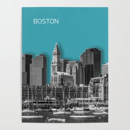 BOSTON Skyline | Graphic Art | turquoise Poster