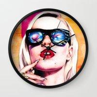 iggy azalea Wall Clocks featuring Iggy Azalea- Orange/Pink by Tiffany Taimoorazy