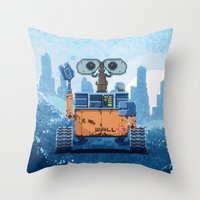 wall e Throw Pillows featuring Wall-e by LAckas