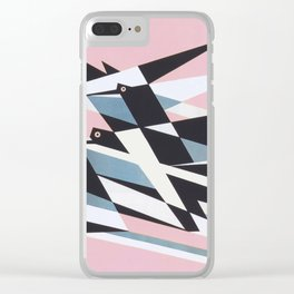 Soaring To Success, Abstract Geometric Retro Vintage Poster Clear iPhone Case