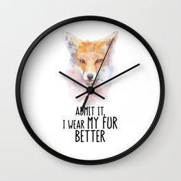 Fox Head Watercolor My Fur Wall Clock