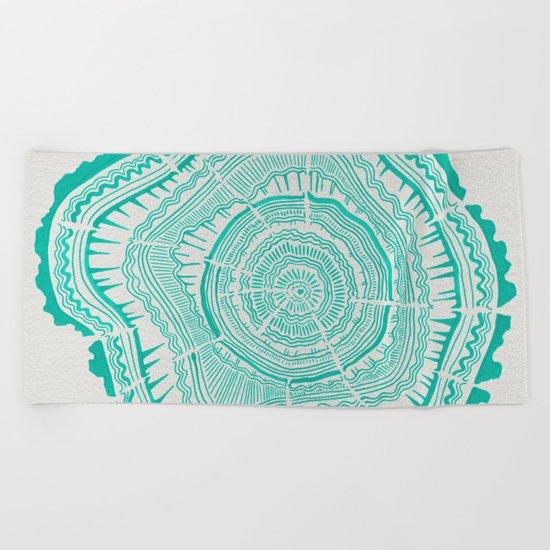 Turquoise Tree Rings Beach Towel