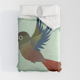 Flying Green-cheeked conure Comforters