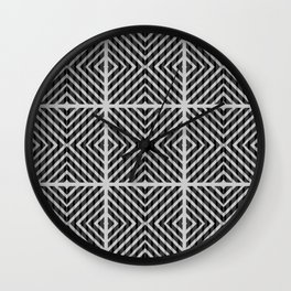 Black and white quilt patchwork composition Wall Clock