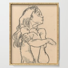 """Egon Schiele """"Seated Nude Girl Clasping Her Left Knee"""" Serving Tray"""