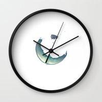 watercolour Wall Clocks featuring Watercolour by Tobias Bowman