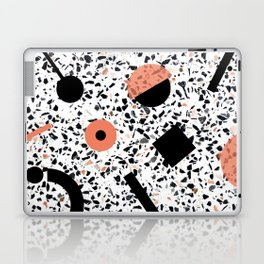 Terrazzo Stone Pattern Memphis Style Orange and Black Laptop & iPad Skin