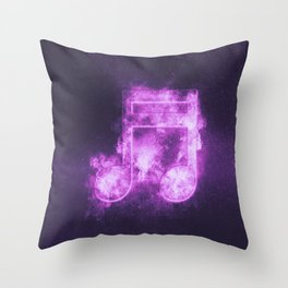 Sixteenth beamed music note symbol. Abstract night sky background Throw Pillow