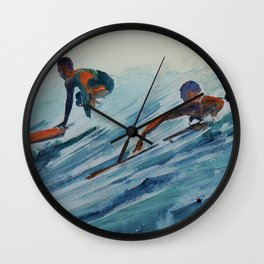 African American Surfers, Honolulu, Hawaii landscape painting by Fred Soldwedel Wall Clock