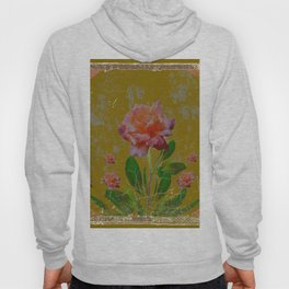 ANTIQUE AVOCADO COLOR  CORAL  PINK ROSES BOTANICAL ART Hoody