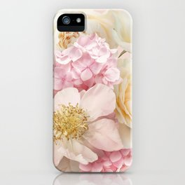 Bouquet of garden flowers . White roses, pink hydrangea and peony on pastel background iPhone Case