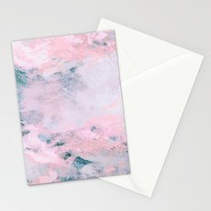 Navy Pink Watercolor Stationery Cards