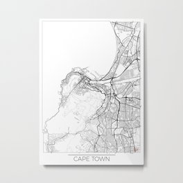 Cape Town Map White Metal Print