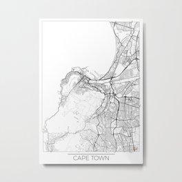 Cape Town Map White Metal Print