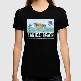 Retro Lanikai Beach Hawaii Tropical Sunset Beach Vacation T-shirt