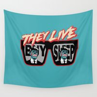 sunglasses Wall Tapestries featuring They live sunglasses by Buby87