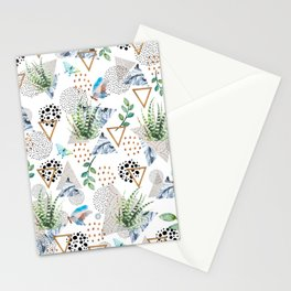 Geometric with cactus and butterflies Stationery Cards
