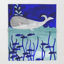 whale in the ocean watercolor illustration Throw Blanket