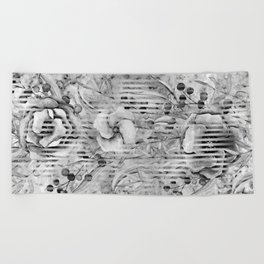 Shades of grey Floral Abstract Beach Towel